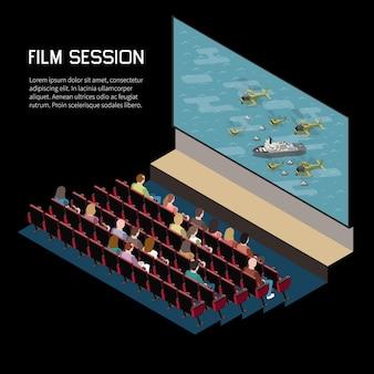 Composizione isometrica del cinema con vista interna dell'auditorium che guarda film con schermo di sedili e testo modificabile