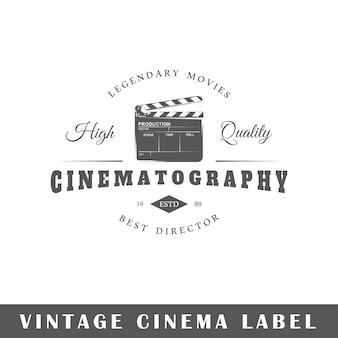 Etichetta del cinema isolato su priorità bassa bianca. elemento. modello per logo, segnaletica, branding.