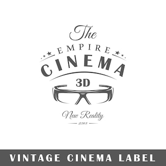 Etichetta del cinema isolata su sfondo bianco
