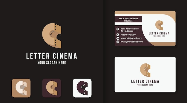 Logo della lettera c del cinema e design del biglietto da visita