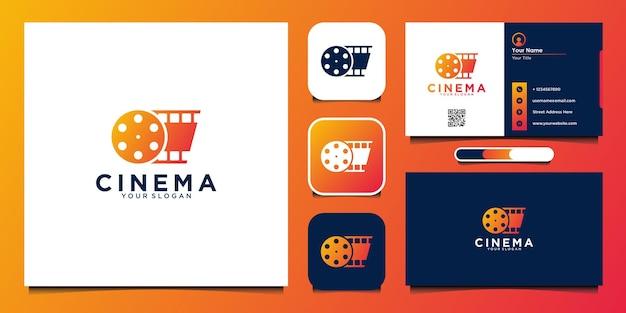 Modello di progettazione del logo del cinema con rotolo di pellicola e biglietto da visita