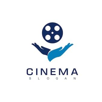 Cinema logo design vettoriale con simbolo della mano
