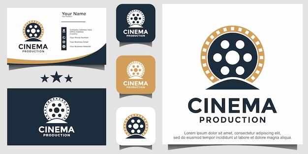 Vettore del modello dell'emblema del film del logo del cinema