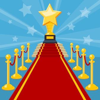Concetto di cinema e film con icone piatte premio tappeto rosso, illustrazione vettoriale