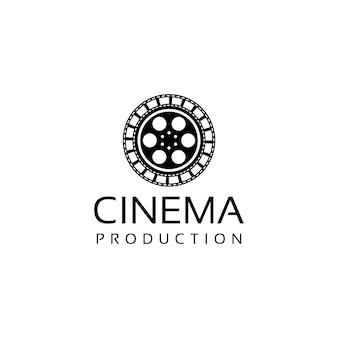Design del logo del film cinematografico con vecchia cartuccia di pellicola e pellicola