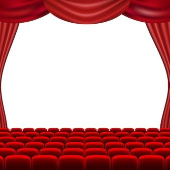 Schermo del cinema con le tende rosse