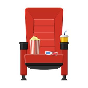 Sede del cinema con popcorn, bevande e occhiali 3d isolati su sfondo bianco. film e film comodi della poltrona rossa