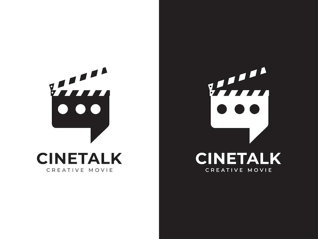 Concetto di design del logo del discorso cinematografico