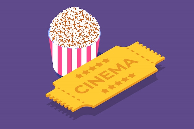 Icona isometrica biglietto cinema, modello. illustrazione