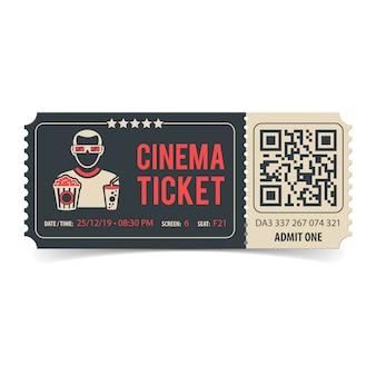 Biglietto del cinema con codice qr
