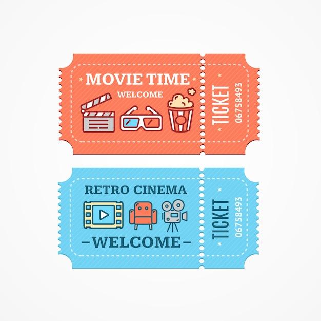 Set di icone di stile di design piatto di biglietti del cinema.