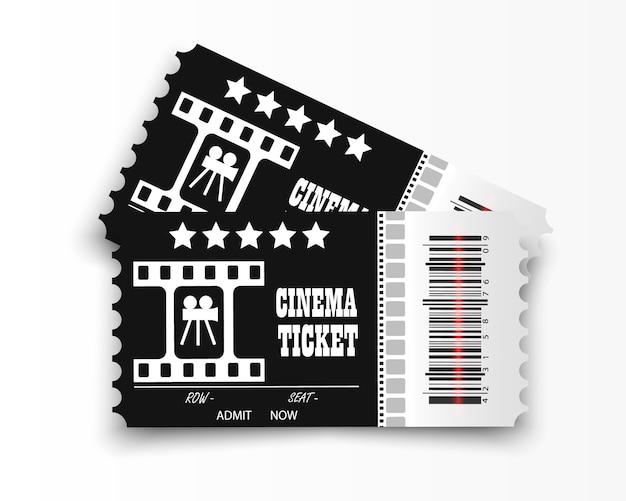Biglietti del cinema su sfondo trasparente. biglietto d'ingresso al cinema realistico.