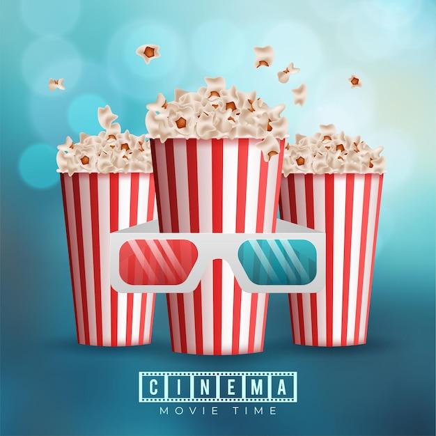 Progettazione del fondo di concetto della cinematografia con popcorn e occhiali 3d