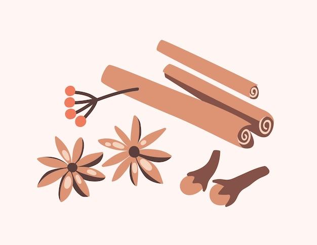 Bastoncini di cannella, chiodi di garofano e anice stellato isolati su sfondo chiaro. spezie aromatiche o condimenti alimentari piccanti utilizzati in cucina. elementi decorativi di design. piatto del fumetto colorato illustrazione vettoriale.