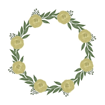 Cornice circolare con foglia verde e bordo di rose gialle per auguri e partecipazioni di nozze