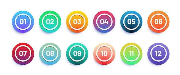 Icona del cerchio 3d impostato con punto elenco numero da 1 a 12. colori sfumati alla moda