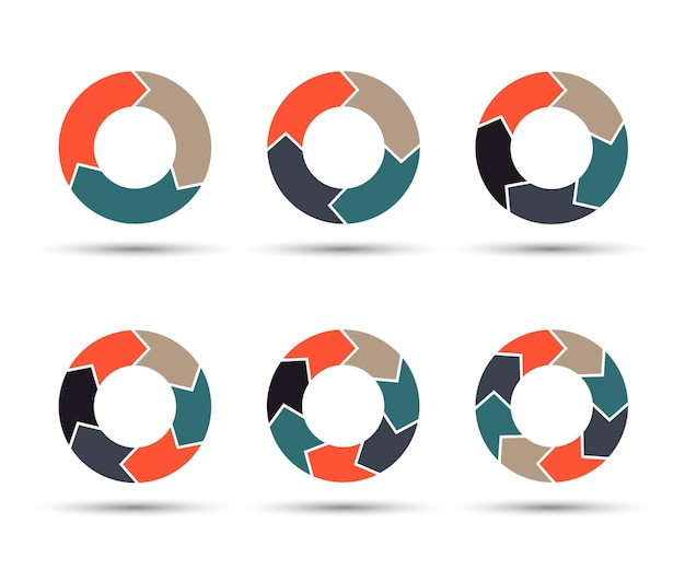 Set di frecce circolari elemento grafico ciclo simbolo geometrico 3 4 5 6 7 8 passi