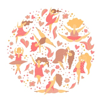 Insegna del cerchio con le ragazze positive del corpo nella danza. banner di caratteri da donna felice plus size. illustrazione vettoriale.