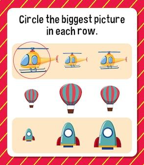 Cerchia l'immagine più grande in ogni foglio di lavoro di riga per i bambini