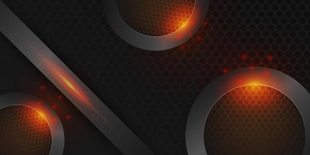 Cerchio nero astratto in metallo con luce brillante