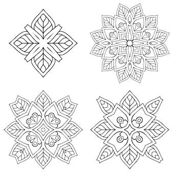 Ornamento cerchio bianco e nero, collezione di pizzo rotondo ornamentale