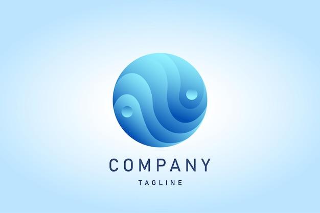Logo del gradiente dell'acqua dell'onda blu del cerchio