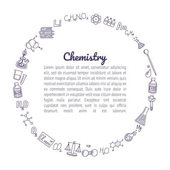 Scatola circolare composta da icone di chimica cornice rotonda per i tuoi disegni e testi