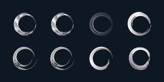 Vettore dell'elemento della spazzola del cerchio con forma d'argento creativa vettore premium parte 2