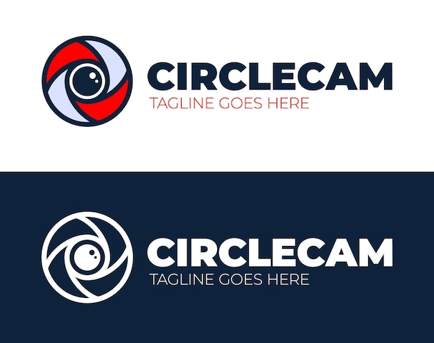 Modello di progettazione del logo dell'occhio della fotocamera del cerchio. cctv, idea di logo aziendale astratto monitoraggio video.