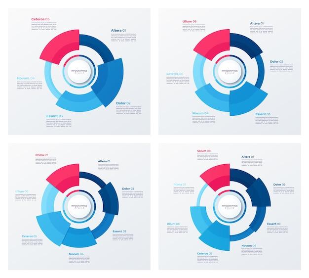 Disegni di grafici circolari, modelli moderni
