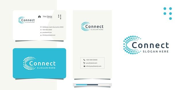 Design del logo circle of connected dots come rete e biglietto da visita
