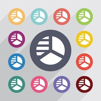 Cerchio diagramma cerchio, set di icone piatte. bottoni colorati rotondi. vettore