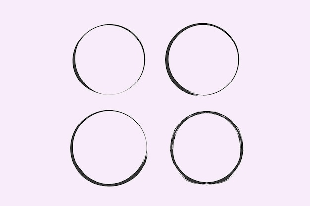 Un cerchio disegnato da un pennello cornice doodle vettoriale per uso di design cerchi grunge