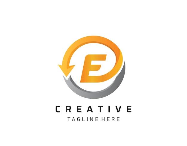 Logo del monogramma del cerchio e. lettera e moderna e design del logo freccia.