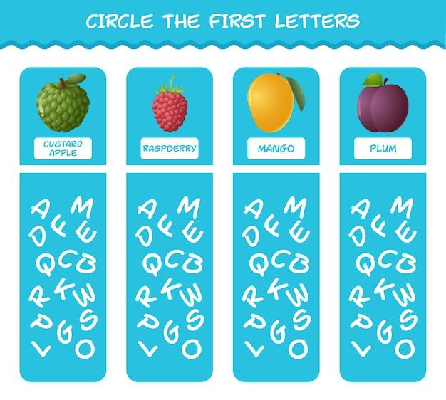 Cerchia le prime lettere dei frutti dei cartoni animati. gioco di abbinamento. gioco educativo per bambini e bambini in età prescolare