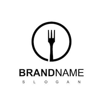 Logo circle fork cafe and restaurant