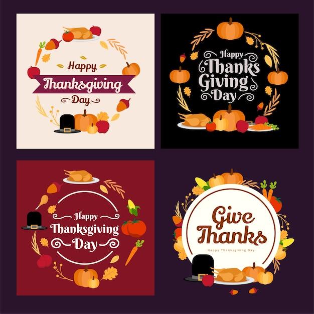 Cerchio set cornice raccolta materiale festa di ringraziamento design