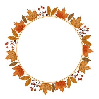 Cornice circolare con bordo di foglie autunnali per biglietto di auguri
