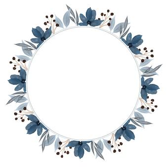 Cornice circolare con bordo floreale acquerello blu per auguri e partecipazioni di nozze