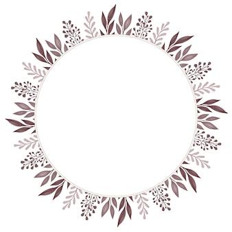 Cornice circolare con foglia marrone e bordo bocciolo grigio per auguri e partecipazioni di nozze
