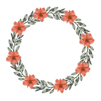 Cornice circolare con fiori d'arancio e bordo foglia verde per auguri e partecipazioni di nozze