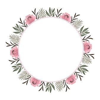 Cornice circolare con bordo di fiori e piante rosa per auguri e partecipazioni di nozze