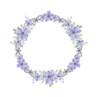Cornice circolare con bordo fiori viola