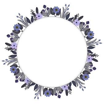 Cornice circolare con bordo fiore acquerello viola e grigio