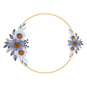 Cornice circolare con bouquet bianco e viola per partecipazione di nozze