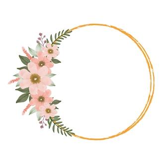 Cornice dorata a cerchio con bellissimo bouquet di pesche per invito a nozze