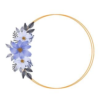 Cornice dorata a cerchio con bouquet di fiori viola per invito a nozze