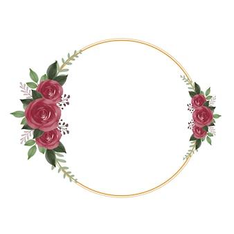 Cornice dorata a cerchio con bouquet di rose rosse per partecipazione di nozze