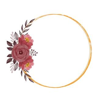 Cornice dorata a cerchio con bouquet di rose rosse per invito a nozze