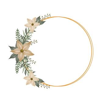 Cornice dorata a cerchio con bouquet giallo morbido per invito a nozze